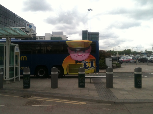 Here's a picture of a terrifying, leering pink bus cartoon man, who looked a bit like he preys upon children. I took this while waiting for Laurie in Birmingham. No children were harmed in the taking of this photo, but I can't speak for their safety once the bus was out of sight.