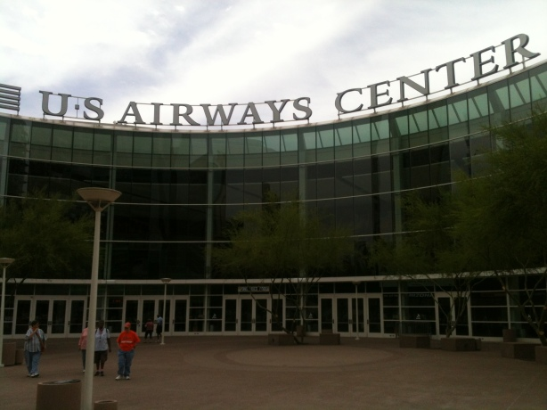 The obligatory shot of the front entrance to the US Airways Centre / Center. That alone would've been worth the trip.