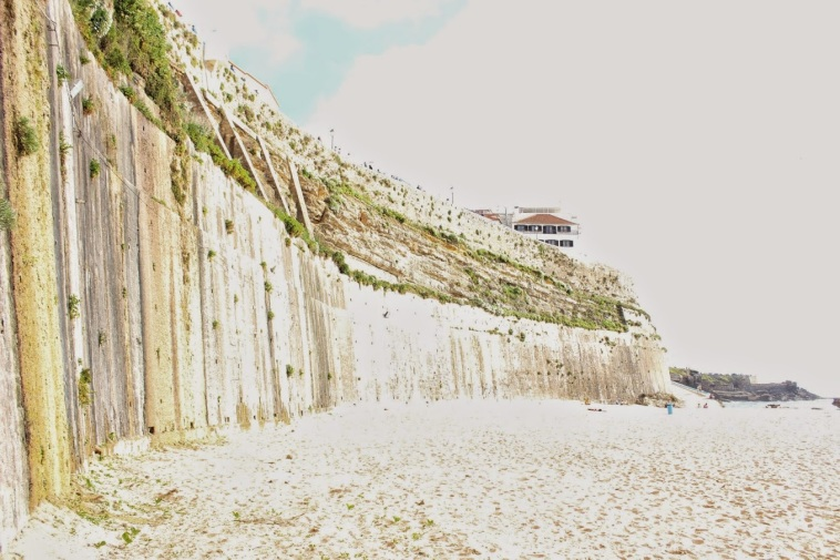 Here's a sea wall on a beach, to defend against, like... mermaids or whatever.